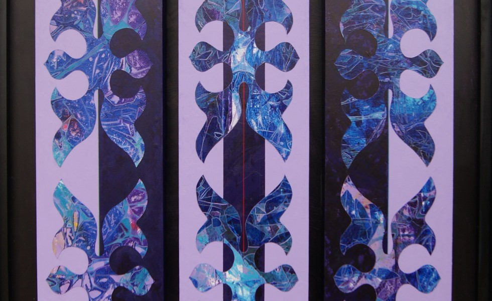 """""""Essence of Being,"""" by Tony Tiger. Acrylic on paper and panel triptych, 28''x54''."""