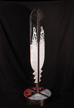 image of feather sculpture by Bill and Demos Glass